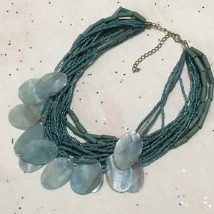 """Vintage Teal Beaded Necklace with Shells. 15"""""""